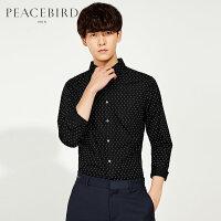 太平鸟男装 秋季黑色波点沉稳低调衬衣潮流长袖衬衫B1CA61504