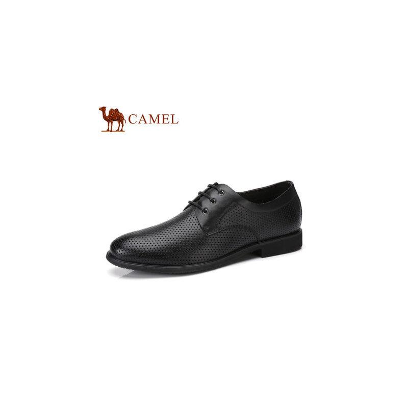 camel骆驼男鞋  夏季新品 镂空透气鞋商务休闲鞋系带牛皮男鞋