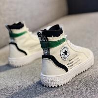 儿童帆布鞋秋季女童布鞋子小白鞋懒人鞋