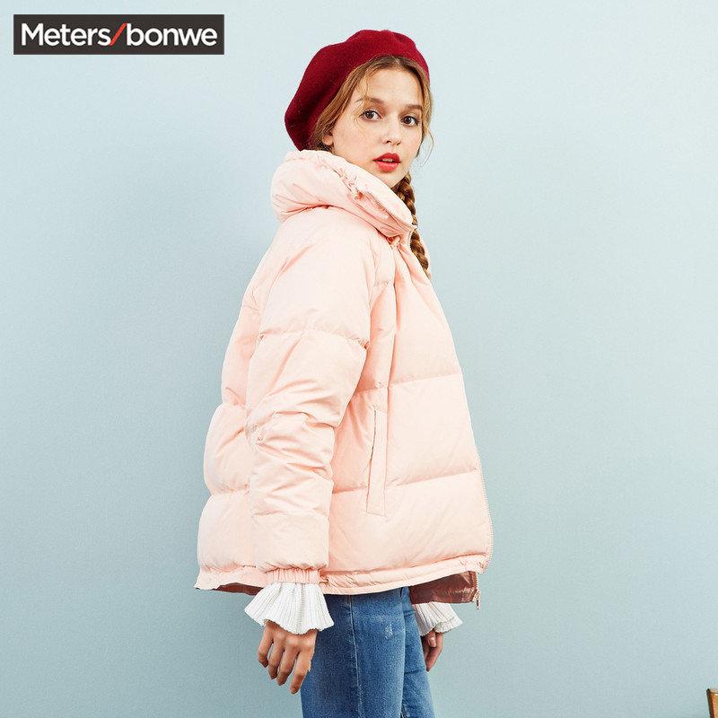 美特斯邦威chic轻羽绒服女短款软妹外套甜美可爱A型冬装新款S