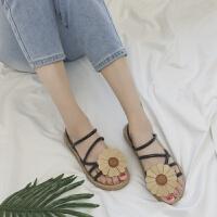 波西米亚拖鞋女夏时尚外穿平底一字拖花朵凉拖鞋两穿沙滩女鞋