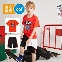 【折后叠券预估价:73】361度童装 男童套装2021夏季新品儿童中大童短袖针织运动套装男N52023401