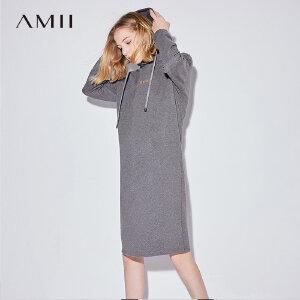 【到手价:116.9元】Amii连帽加绒加厚卫衣裙女秋冬装新款显瘦中长打底内搭连衣裙
