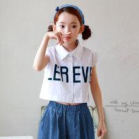 夏装新品童装女童韩版中大童上衣儿童短款衬衫