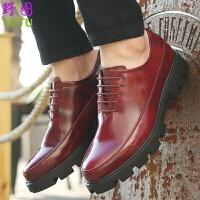 青少年男生布洛克休闲皮鞋新款内增高小皮鞋男士发型师系带尖头英伦青年皮鞋