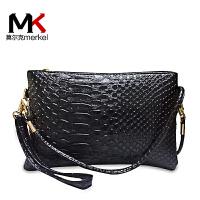 莫尔克(MERKEL)新款女包单肩包手拿包时尚鳄鱼纹斜跨手包手机包休闲零钱包ALS103-1