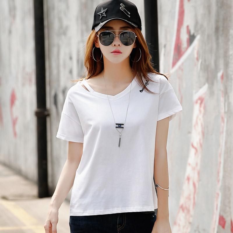 夏季新款上衣女装夏装短袖t恤女韩版宽松半袖打底体恤衫潮