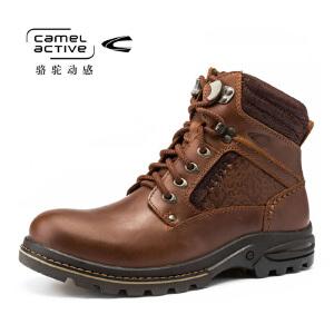 Camel Active/骆驼动感户外马丁靴透气工装靴男士英伦休闲皮鞋