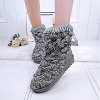 乌龟先森 雪地靴 女士冬季新版厚底内增高水钻靴子女式高跟加绒学生鞋子