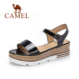 camel骆驼女鞋 欧美风 时尚松糕厚底鞋 气质漆皮一字扣中跟凉鞋