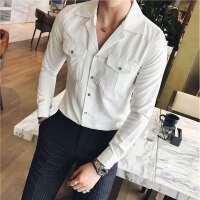 秋冬冬季长袖修身男士青年衬衣欧美简约常规长袖衬衫衬衫