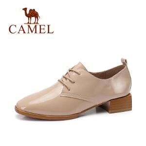 Camel/骆驼女鞋 秋季新款 英伦风亮面单鞋女 低跟百搭系带鞋
