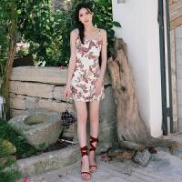 夏季短裙海边度假复古碎花裙波西米亚细吊带连衣裙A摆沙滩裙 图片色