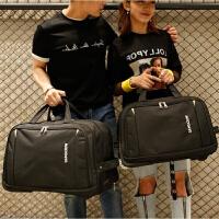 拉杆包大容量短途登机包男女旅行收缩收纳袋带轮手提布包带拉杆包行李箱 黑色 黑色