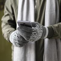 羊毛触屏手套男女冬季加绒针织毛线户外骑行开车全手防寒