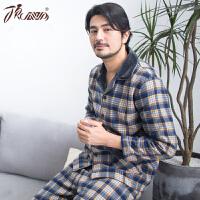 顶瓜瓜睡衣男士秋冬季棉质格子休闲加厚款保暖可外穿家居服套装