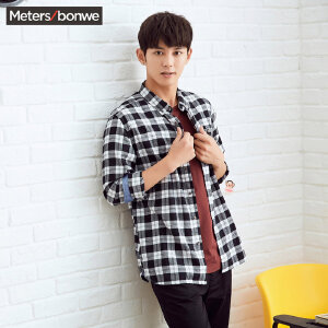 美特斯邦威长袖衬衫男士秋装黑白色格子衬衣韩版宽松寸衫外套潮