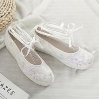 手缝珍珠古风汉服鞋白民族风绣花软底翘头弓鞋内增高古装演戏鞋 白色