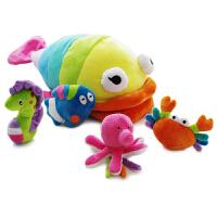 彩色大鲸鱼摇铃套装海底动物婴幼儿宝宝手抓摇铃毛绒玩具