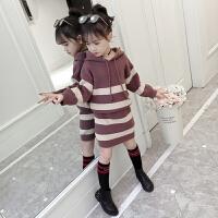 女童毛衣套头外套冬季套裙中长款针织打底衫