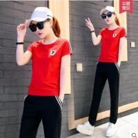 时尚新款运动套装女潮韩版两件套短袖长裤学生休闲装 可礼品卡支付