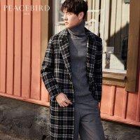 【开学季1件2.5折,到手价:540元】太平鸟男装 冬新品黑白格子长款羊毛呢大衣外套男BWAA74108