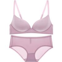 新款夏无痕无钢圈光面聚拢文胸套装收副乳加厚调整型女士内衣胸罩 粉色 文胸+内裤