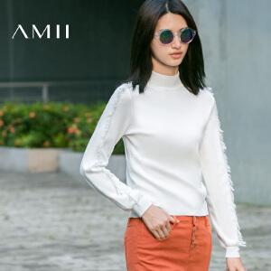 AMII[极简主义]冬小高领流苏长袖针织短款大码毛衣女11681812