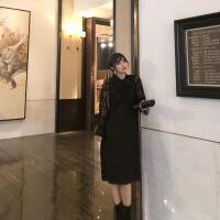 №【2019新款】冬天美女穿的秋冬新款背心裙黑色加厚毛呢连衣裙女中长款直筒裙子