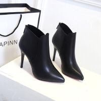 舒适好看!时尚新品高跟尖头短靴后拉链百搭女靴高跟鞋细跟显瘦马丁靴青春靓丽