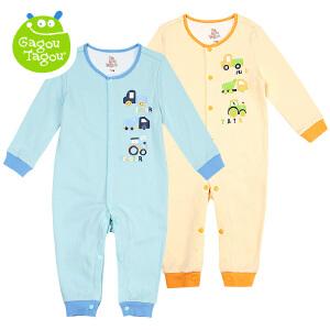 【加拿大童装】 Gagou Tagou婴幼儿纯棉印花长袖前开连体衣宝宝哈衣爬服睡衣