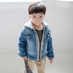 秋冬新品童装假两件牛仔外套童装外套中小童牛仔韩版外套