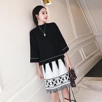 chic早秋装女2018新款套装时尚名媛小香风街拍针织毛衣裙子两件套 黑色套装