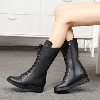 娜箐箐冬新款高跟坡跟平底高筒靴真皮内增高马丁靴长靴女靴