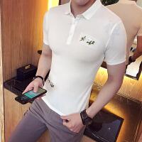 夏款新款男装修身短袖T恤英伦休闲百搭气质款polo衫S小码