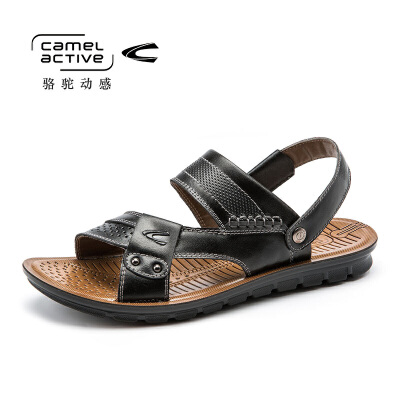 德国骆驼动感男士包头凉鞋真皮2017新款正品夏季休闲透气沙滩鞋潮