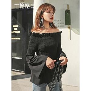 七格格一字肩上衣女2019春新款韩版收腰木耳边衬衫黑色修身打底衫