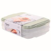乐扣乐扣密封保鲜盒冰箱冷冻分隔饺子盒大容量储物收纳盒 薄荷绿【2.4L X2】