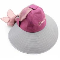 女夏天折叠遮阳帽太阳帽骑车大沿帽防晒遮脸沙滩帽