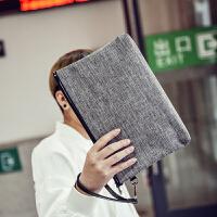 男士手包迷彩手拿包男包韩版帆布休闲手包男士新款潮流手机包手抓包男 帆布灰