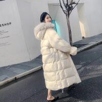 白色羽绒服女中长款2018秋冬新款加厚宽松真大毛领过膝冬装外套 奶白色(90%白鸭绒) XS