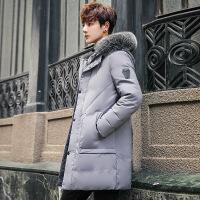 №【2019新款】冬天年轻人穿的2018新款冬季男士外套羽绒服轻薄式韩版潮流工装加厚中长款白鸭绒 X