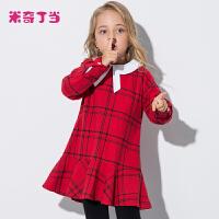 米奇丁当童装女童中大童连衣裙2017新品秋装英伦格子荷叶边裙子