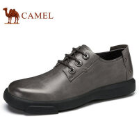 camel 骆驼男鞋 秋季新品商务休闲耐磨真皮系带低帮皮鞋男
