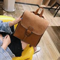 女生书包大学生高中生新款复古双肩包女皮韩版学院风百搭英伦中学生书包多用背包