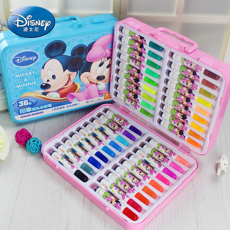 开学季礼物 正版迪士尼印章水彩笔 幼儿园小学生彩色笔 可水洗 儿童