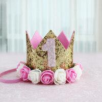 生日帽子儿童宝宝周岁花朵亮片皇冠ins派对装扮用品布置拍照道具 粉白花朵皇冠 1岁