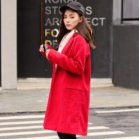 [1折价99.9元]唐狮冬新款毛呢外套女呢子中长款大衣女大红色韩版修身厚潮