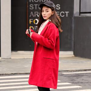 【2件3折价249.9元】唐狮冬新款毛呢外套女呢子中长款大衣女大红色韩版修身加厚潮