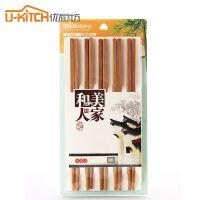优厨坊 竹筷子家用竹木筷子家庭套装防霉天然竹子无漆筷子10双装7066